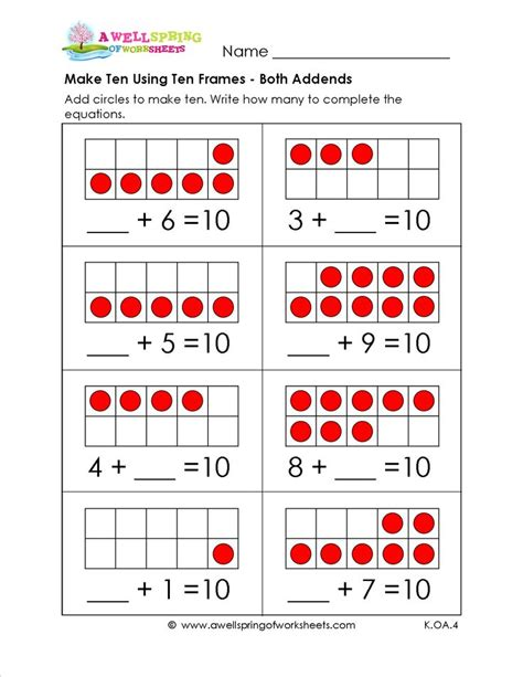 make 10 using ten frames here s another way to practice adding up to 10 ten frames red