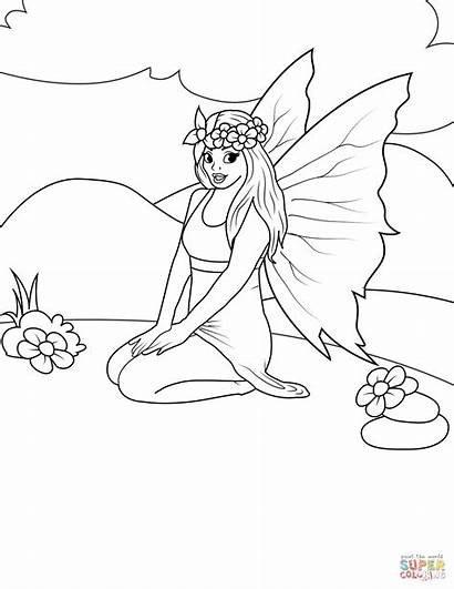 Fairy Coloring Sitting Pages Printable Fairies Drawing