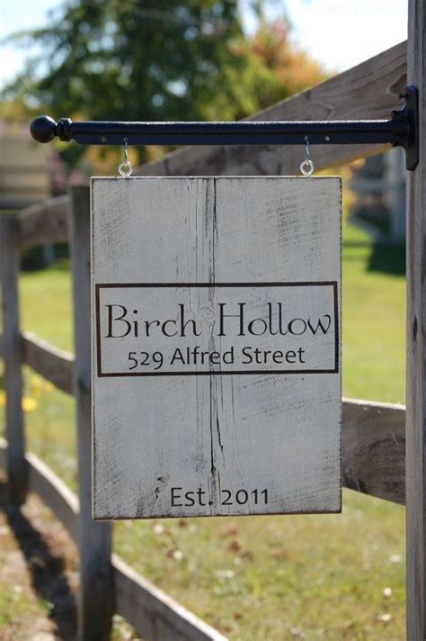 shabby chic address sign painted  barn wood post