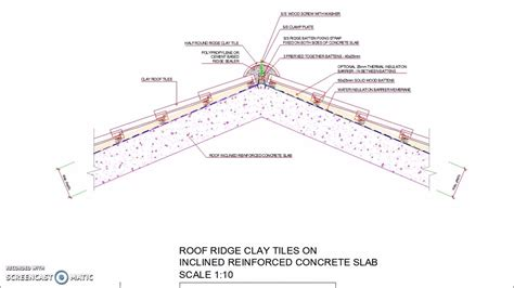 inclined reinforced concrete roof slab ridge clay tiles