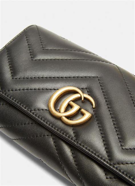 lyst gucci womens marmont monogram matelasse wallet  black  black