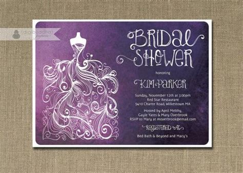 diy shabby chic wedding invitations plum ombre bridal shower invitation purple white gown shabby chic wedding invite free priority