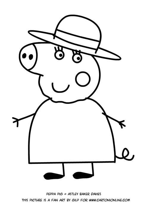 disegni da colorare e stare peppa pig disegno di nonna pig da colorare