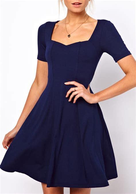 navy blue  neck wrap cotton blend dress midi dresses
