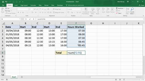 sum the hours 24 hours excel trick youtube