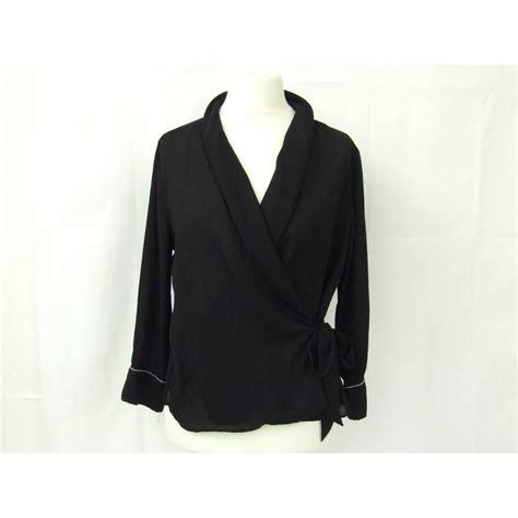 Zara chiffon wrap top smart loose long sleeve piped blouse ...