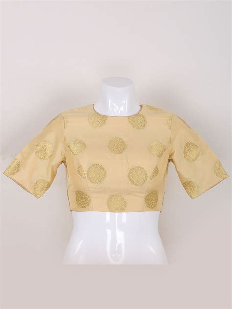 Cream Color Silk Ready Made Blouse G3 Rb0666