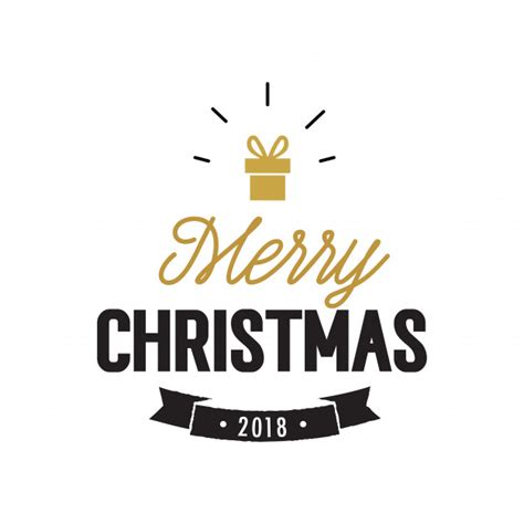 merry christmas 2018 with shining present vector free download