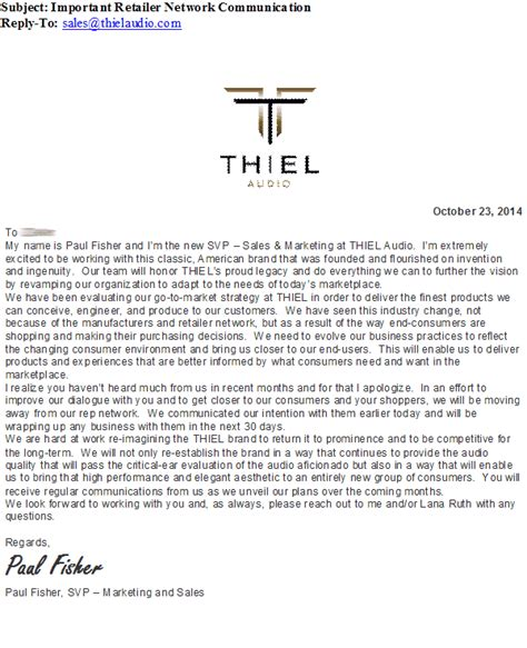 sales rep termination letter in first step of transformation thiel terminates reps
