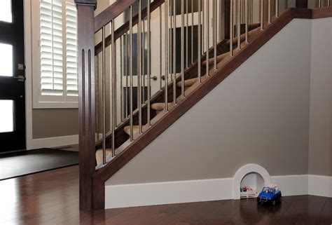 stair spindles Entry Contemporary with baseboard beige