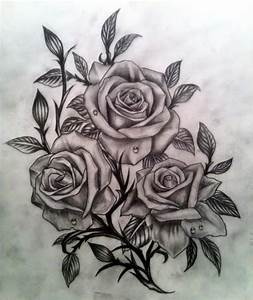realistic black and grey roses would make a great tattoo ...