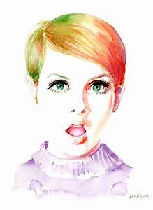 Watercolor Fashion Illustration Twiggy Cool Girl 60s 70s