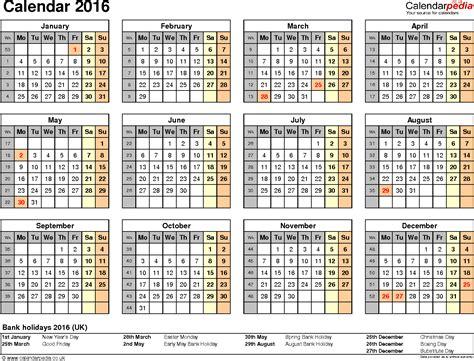 2016 calendar template calendar 2016 uk 16 free printable word templates