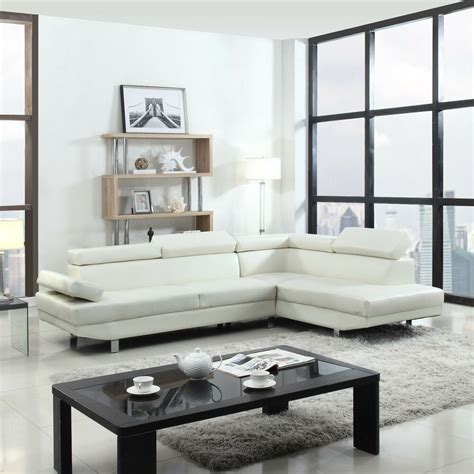 2 contemporary modern faux leather white sectional