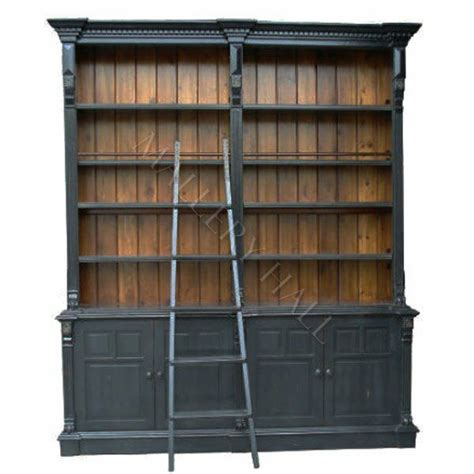 country bookcases country library bookcase two toned with ladder ebay