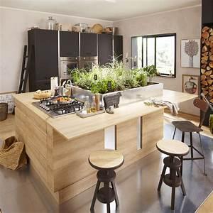 Meuble de cuisine décor chêne blanchi DELINIA Graphic