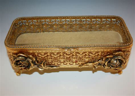 Vintage, Matson Gold Ormolu Large Footed Jewelry Box