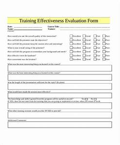 training evaluation form template With training effectiveness evaluation form template