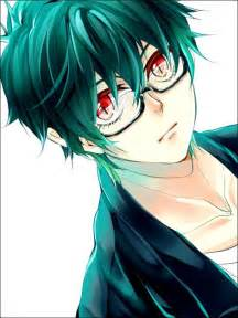Cute Anime Boys with Green Eyes Glasses