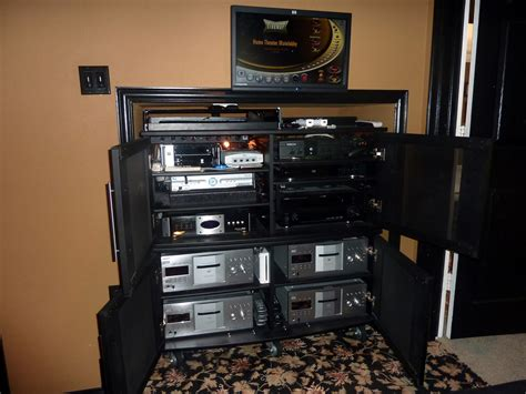 Home Theater Component Cabinet Audio Tower In Wall Av Rack