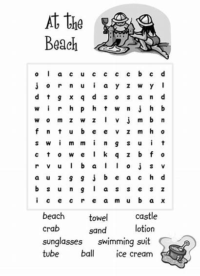 Word Easy Printable Beach Pages Coloring