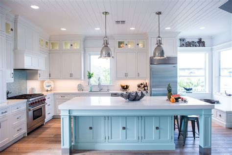 Coastal White Kitchen with Turquoise Island   Home Bunch