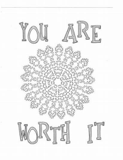 Coloring Pages Worth Self Yourself Affirmation Colouring