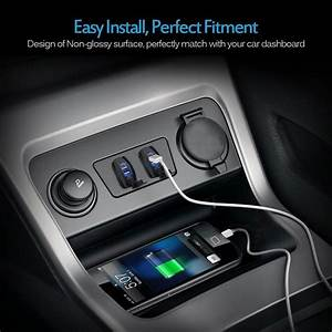 Car Dual Usb Sockets Charger With Blue Led Light