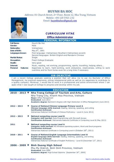 cv resume sample  fresh graduate  office administration