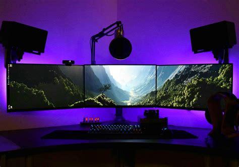 led lights for gaming setup three monitor wallpaper