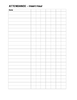 blank attendance sheet  middle school survival guide tpt