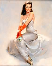 stunning wedding dresses gil elvgren painting detail