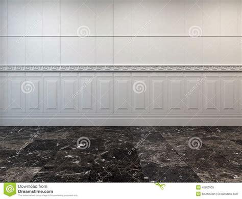 Leerer Raum Mit Einem Marmorboden Und Einer Täfelung Stock