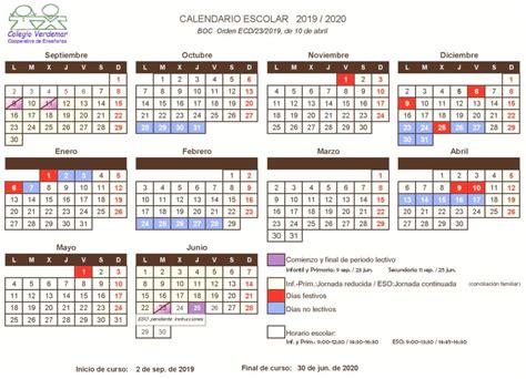 calendario escolar curso colegio verdemar