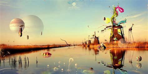 Desktopography Surreal Windmills Water Reflection
