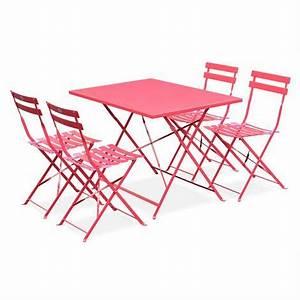 Salon De Jardin Bistrot : salon de jardin bistrot pliable emilia rectangulaire rouge avec quatre chaises pliantes acier ~ Teatrodelosmanantiales.com Idées de Décoration
