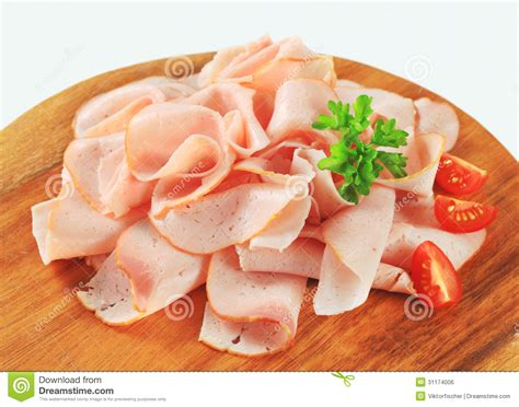 thinly sliced chicken ham royalty free stock image image