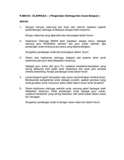 Pjm3103 olahraga