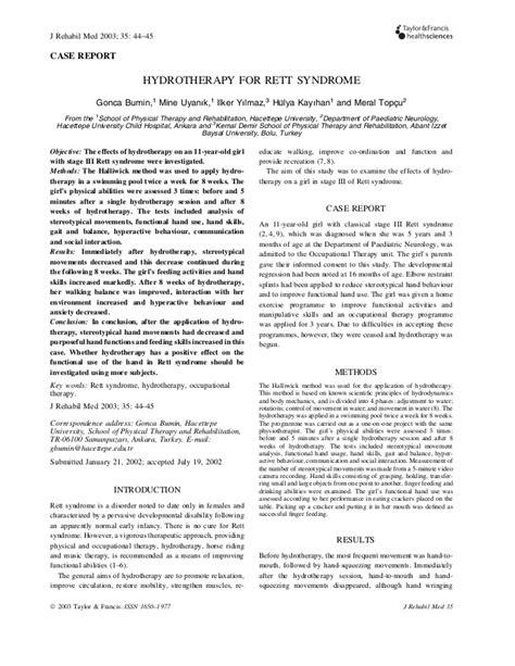 Hydrotheraphy untuk anak Rett Syndrome (jurnal)