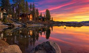 Landscape, Lake, House, Rocks, Sunset, Sky, Clouds, Lake, Tahoe
