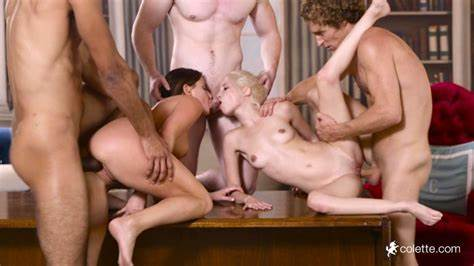 College Tiny Alma And Colette In Bj Gangbang