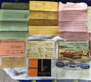 1963 Chevrolet Owners Guide Manuals Title Bill Of Sale