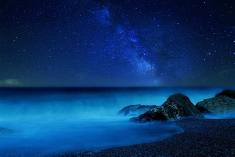 milky  night star sky fog sea hd wallpaper