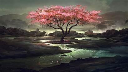 Cherry Tree Desktop Fantasy Artistic Wallpapers Cerezo