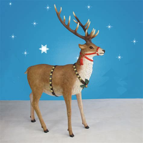 665in High Outdoor Sleigh Reindeer Pair  Set Of Two