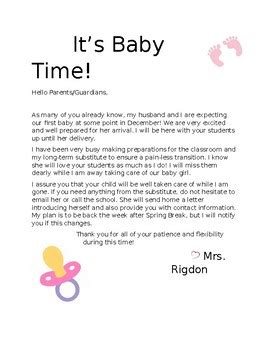 maternity leave letter  parents   grade finds tpt