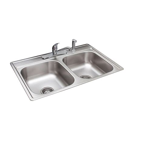 kitchen sink faucet franke drop in stainless steel 33x22x7 4 bowl 2701