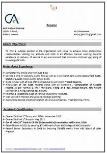 Free Student Cv Template Indian Chartered Accountant Resume Sample Accountant