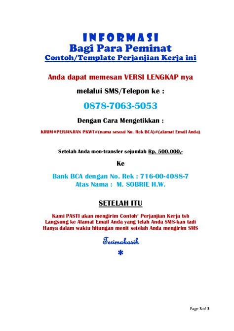 contoh perjanjian kerja kontrak  bahasa