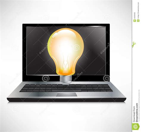 bright light computer screen laptop with bright light bulb royalty free stock photo